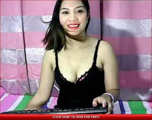 Excited Asian webcam model
