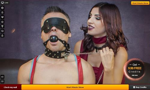 Dominatrix and her slave at LiveJasmin.com
