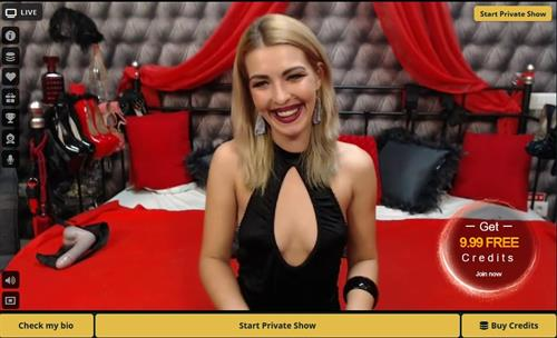 Sexy blonde with selection of shoes and toys on MyCams.com