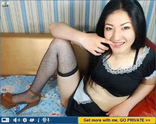 Asian cam girl in a maid outfit
