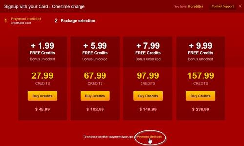 Changing the payment method on LiveJasmin.com
