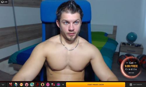 Stallion with blue eyes looking muscular on LiveJasmin.com