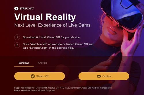 Stripchat is the only site today with VR Chat rooms